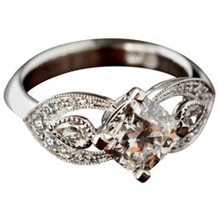 1.80 Carat Cushion Cut Diamond Engagement Ring with Ornate Scalloped Shoulders