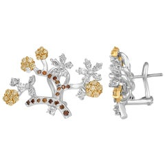 1.80 Carat Diamond Gold Flower Branch Earrings