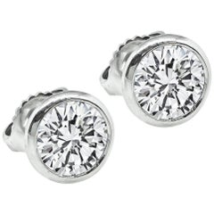 1.80 Carat Diamond Platinum Stud Earrings