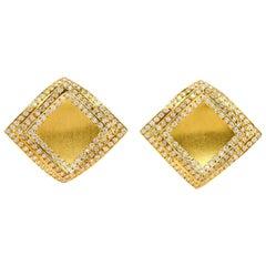 1.80 Carat Diamonds 18 Karat Yellow Gold 3-Layer Square Earrings
