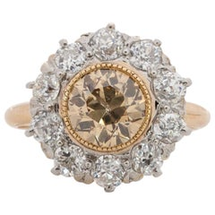 1.80 Carat Edwardian Diamond 14 Karat Yellow Gold Engagement Ring