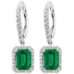 1.80 Carat Emerald Diamond Dangle Earrings