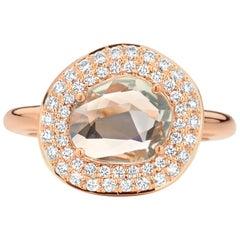 1.80 Carat Green/Grey Sapphire 18 Karat Cluster Diamond Ring