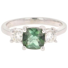 1.80 Carat Green Tourmaline Diamond Ring 14 Karat White Gold Three-Stone Ring