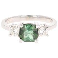 1.80 Carat Green Tourmaline Diamond Ring 14 Karat White Gold Three-Stone Ring