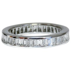 1.80 Carat Natural Baguette Diamonds Eternity Ring 14 Karat Band