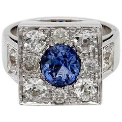 1.80 Carat Natural Ceylon Sapphire 1.90 Carat Diamond Ring