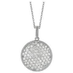 1.80 Carat Natural Diamond Necklace Pendant 14 Karat White Gold G SI