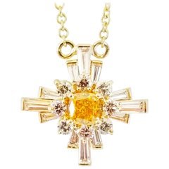 1.80 Carat Natural Fancy Diamond Star Cross Orange Pink Blue Green Pendant Neck