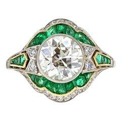 1.80 Carat Old European Cut Diamond Emerald Platinum Engagement Ring