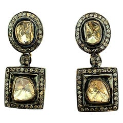 1.80 Carat Old Mine Cut 'Polki' Diamonds Stud Drop Earring in Silver, 14k Gold