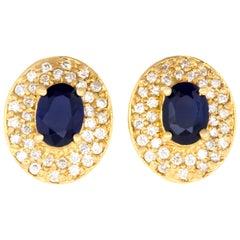 1.80 Carat Oval Blue Sapphire and .72 Carat Diamond Earrings