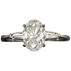 1.80 Carat Oval Brilliant Cut Diamond Ring Baguette Side Diamonds Ring