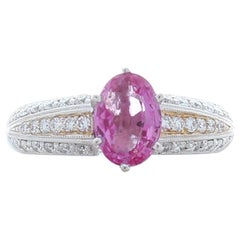 1.80 Carat Oval Pink Sapphire and Diamond Dual Tone Cocktail Ring In 18 K Gold