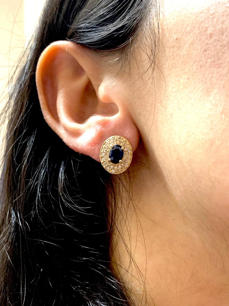 Oval Cut 1.80 Carat Oval Sapphire and .72 Carat Diamond Earrings For Sale