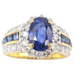 1.80 Carat Oval Sapphire Diamond Halo 18k Ring Lined Princess-Cut Sapphire Band