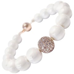 1.80 Carat Pink Diamond White Ceramic 18 Karat Rose Gold Tresor Bead Bracelet