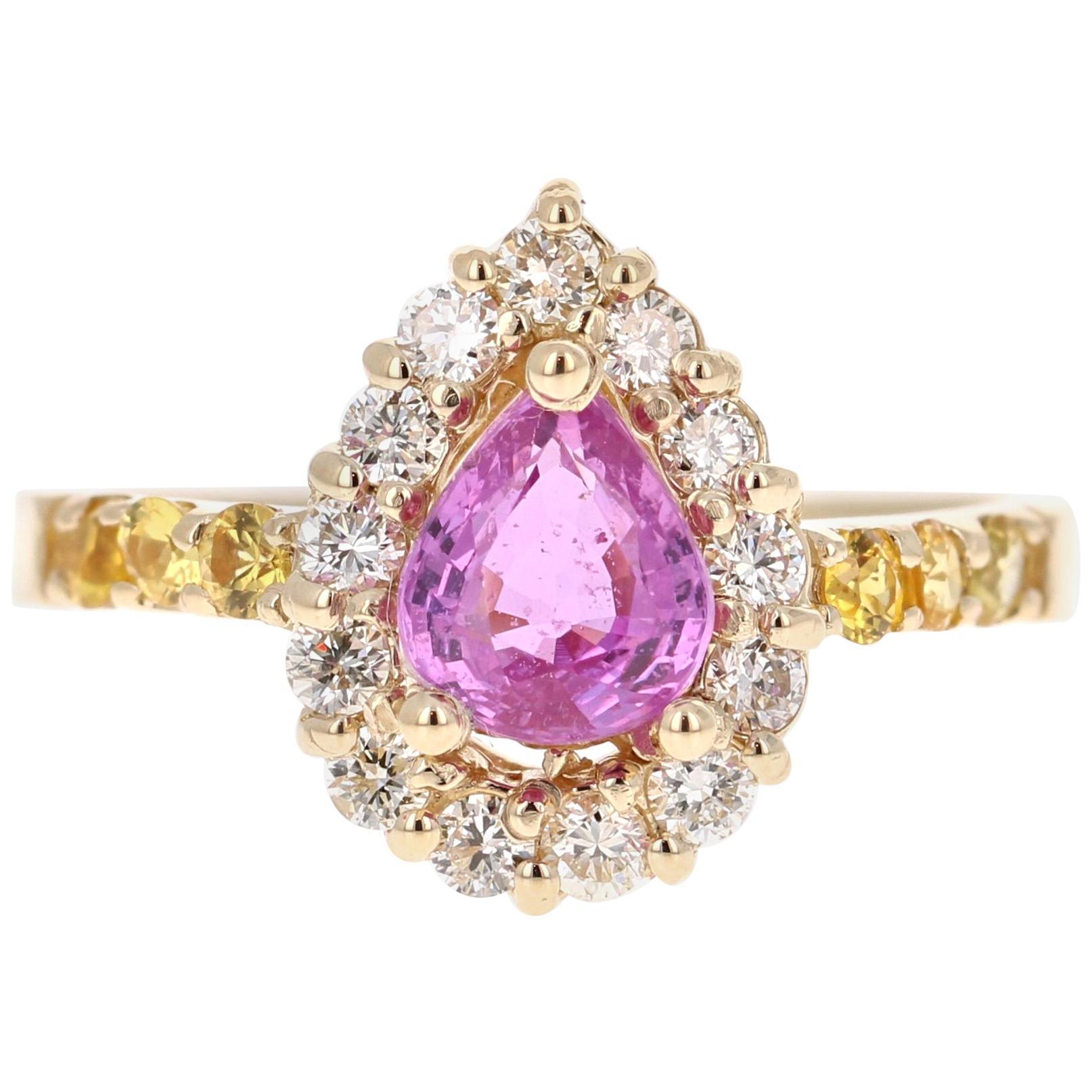 1.80 Carat Pink Sapphire Yellow Sapphire Diamond 14 Karat Yellow Gold Ring