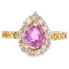 1.80 Carat Pink Sapphire Yellow Sapphire Diamond 14 Karat Yellow Gold Ring