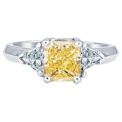 1.80 Carat Radiant Yellow SI2 Diamond 3-Stone 18 Karat Gold Ring, GIA Report