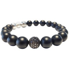 1.80 Carat Round Black Diamond 18 KT Gold Steel Black Agate Men's Bead Bracelet
