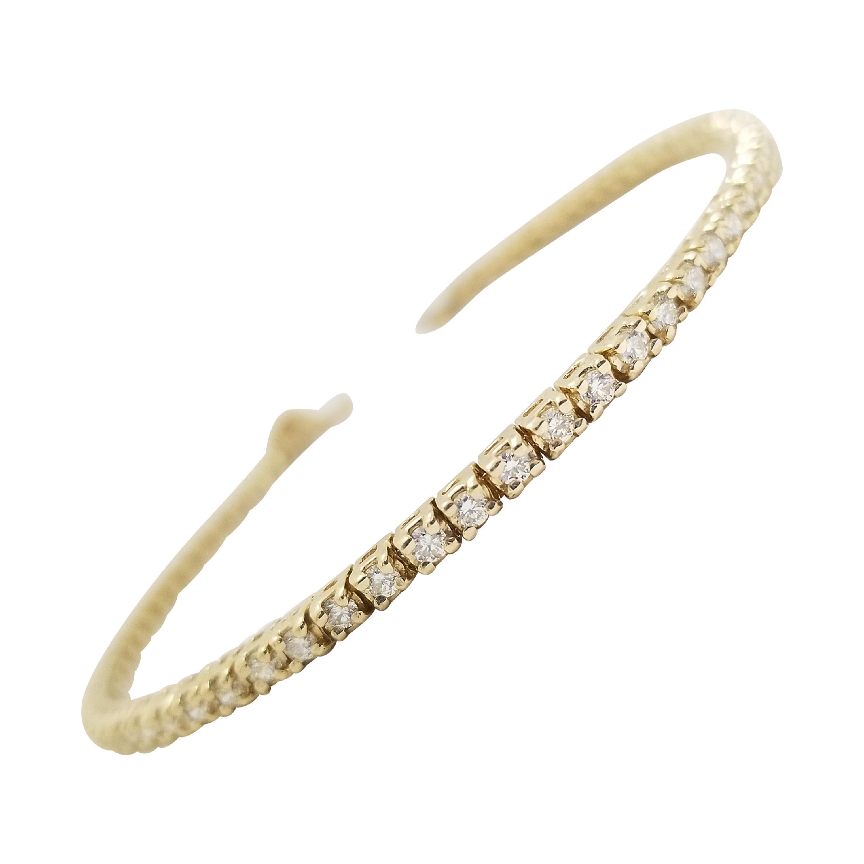 1.81 Carat Round Brilliant Cut Diamond Tennis Bracelet 14 Karat Yellow Gold