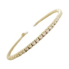1.80 Carat Round Brilliant Cut Diamond Tennis Bracelet 14 Karat Yellow Gold