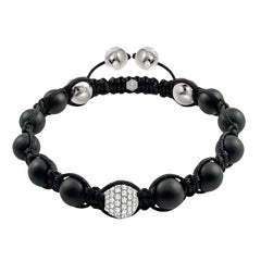 1.80 Carat Round White Diamond 18 Karat Gold Black Agate Men's Beaded Bracelet