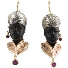 """1.80 Carat Ruby 0.48 Carat Diamond Ebony Yellow Gold """"Moor of Venice"""" Earrings"""