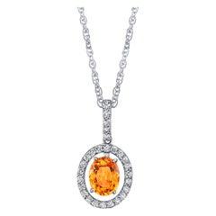 1.80 Carat Spessartite Garnet and Diamond 18 Karat White Gold Pendant