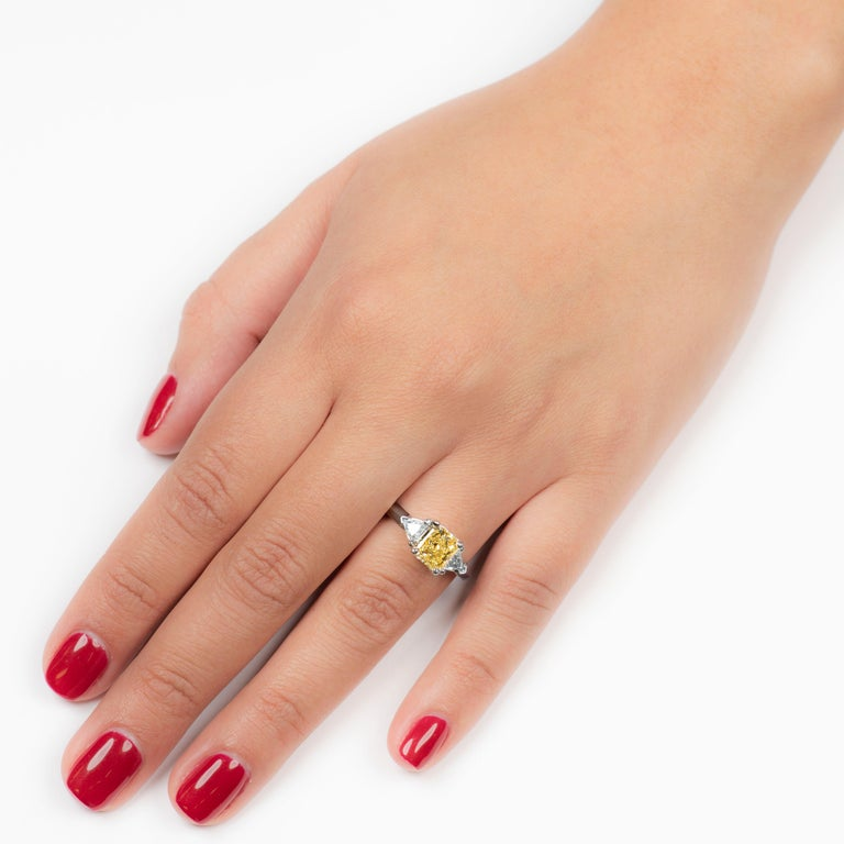 1.80 Carat Total Radiant Diamond 'GIA', Three-Stone Diamond Ring In New Condition For Sale In Houston, TX