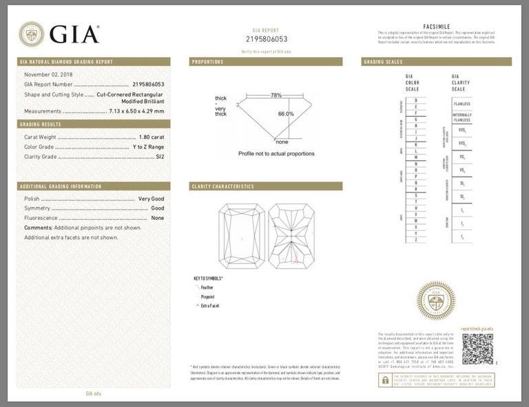 Women's 1.80 Carat Total Radiant Diamond 'GIA', Three-Stone Diamond Ring For Sale
