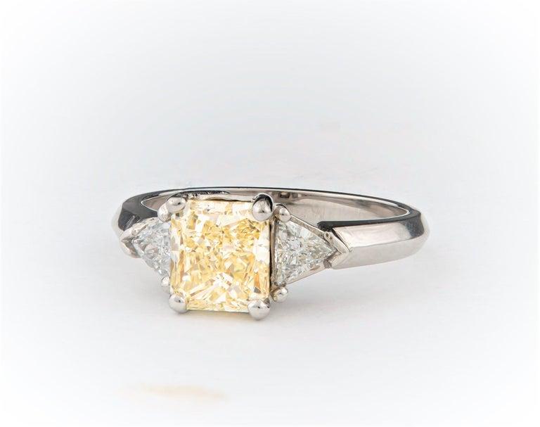 1.80 Carat Total Radiant Diamond 'GIA', Three-Stone Diamond Ring For Sale 1