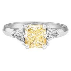 1.80 Carat Total Radiant Diamond 'GIA', Three-Stone Diamond Ring