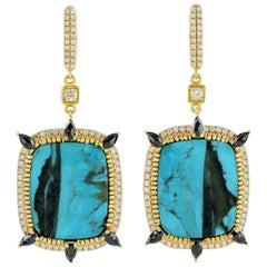 18.0 Carat Turquoise Diamond 18 Karat Gold Earrings