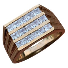 1.80 Carat TW Men's Diamond Ring / Wedding Ring / Band, 14 Karat Princess Cuts