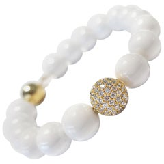 1.80 Carat White Diamond 18 KT Yellow Gold Ceramic Tresor Paris Bead Bracelet