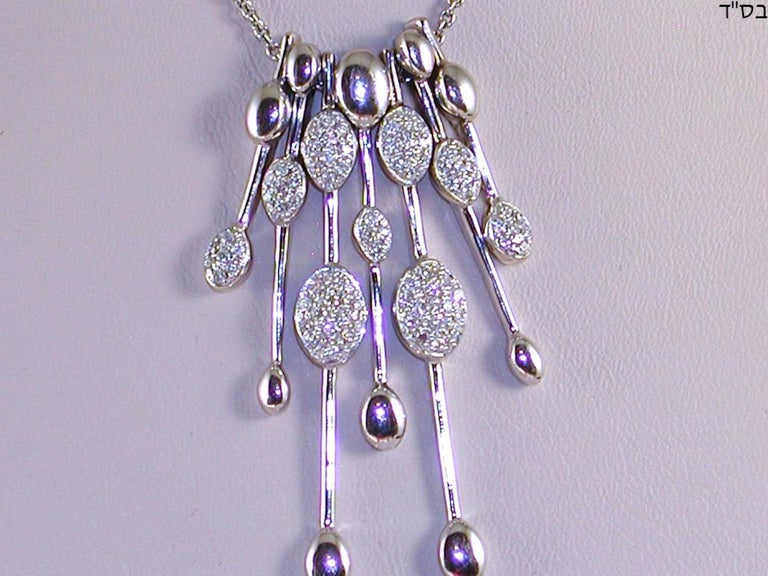 Women's 1.80 Carat White Gold Necklace Diamond Pendant For Sale