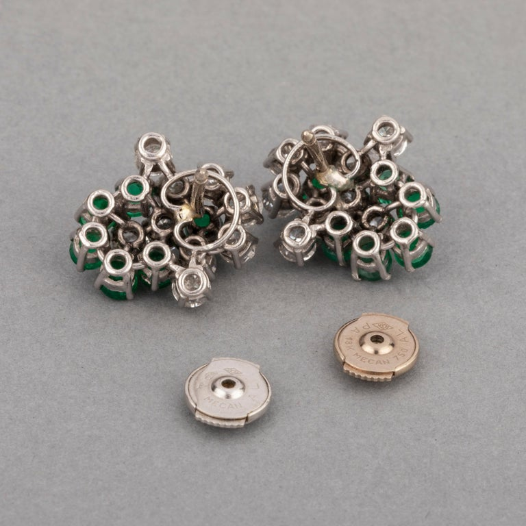 1.80 Carat Diamonds and 1.20 Carat French Emeralds Earrings For Sale 1