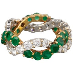 1.80 Carat Diamonds and 2.20 Carat Emeralds French Ring