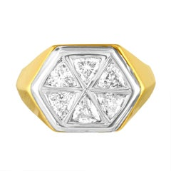 1.80 Carat Men's Diamond Gold Hexagon Ring