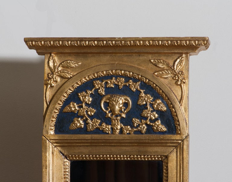 French 1800, Antique France Gilded or Panted Empire Mirror with Decoration