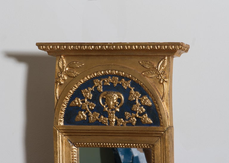 1800, Antique France Gilded or Panted Empire Mirror with Decoration In Fair Condition In Silvolde, Gelderland