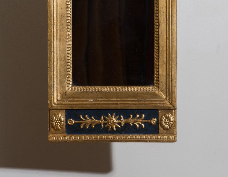 Early 19th Century 1800, Antique France Gilded or Panted Empire Mirror with Decoration