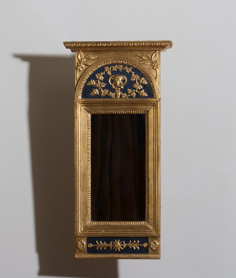 1800, Antique France Gilded or Panted Empire Mirror with Decoration 1