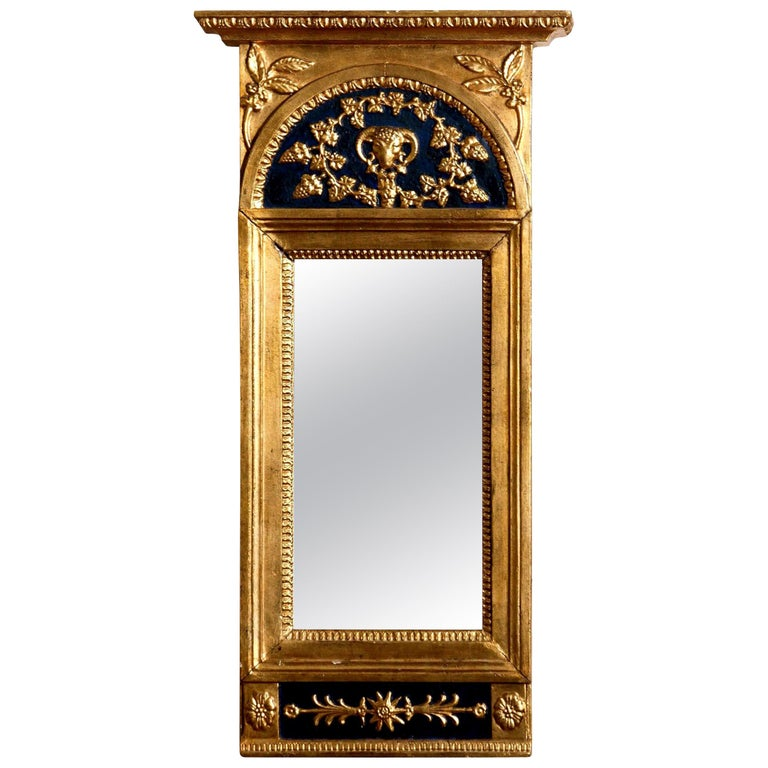 1800, Antique France Gilded or Panted Empire Mirror with Decoration