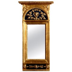 1800, Antique France Gilded  Painted Empire Mirror with Decoration