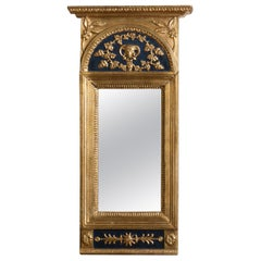1800, Antique France Gilded / Panted Empire Mirror with Decoration