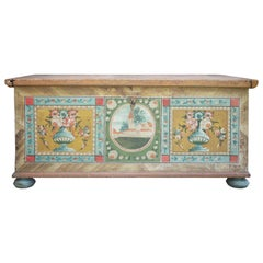 1800 Brown Floral Painted Blanket Chest