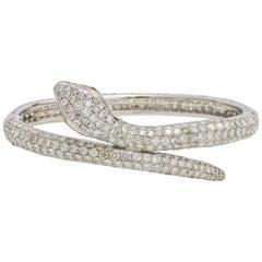 18.00 Carat 18 Karat White Gold Diamond Snake Bangle Bracelet
